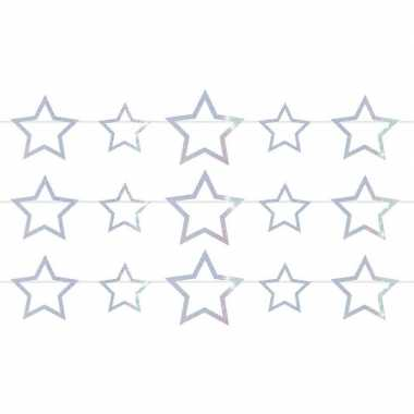 3x sterren holografische feest versiering vlaggenlijnen 4 meter