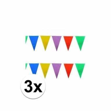 3x stuks gekleurde vlaggetjes 10 meter