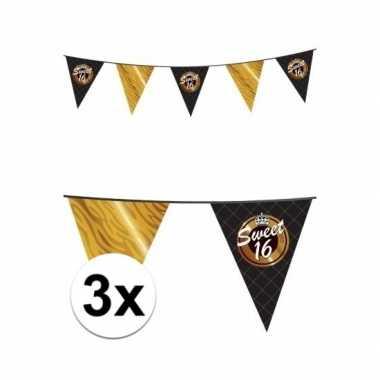 3x stuks sweet 16 vlaggenlijnen