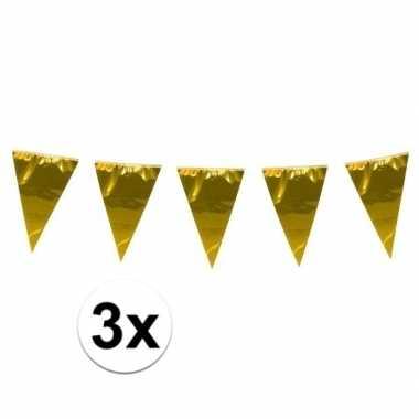 3x stuks xxl goudkleurige slingers 10 meter
