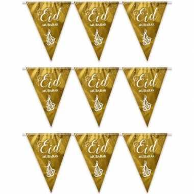 3x suikerfeest/offerfeest versiering metallic vlaggenlijn goud 6 mete