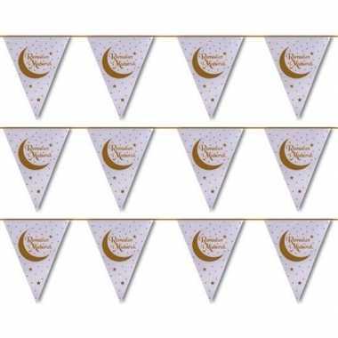 3x suikerfeest/offerfeest versiering metallic vlaggenlijn wit/goud 6