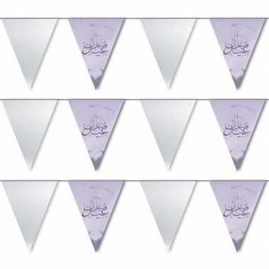 3x suikerfeest/offerfeest versiering metallic vlaggenlijn zilver 6 me