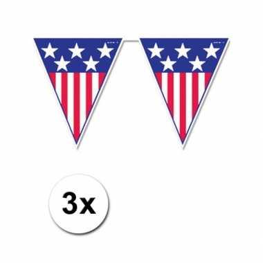 3x USA vlaggenlijn van 4 meter
