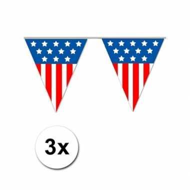 3x USA vlaggenlijnen 5 meter