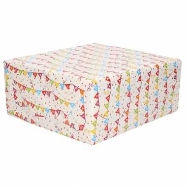 3x verjaardagscadeau inpakpapier vlaggenlijn happy birthday 70 x 200 cm op rol