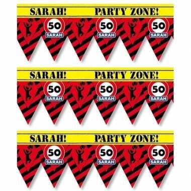 3x versiering/decoratie 50 sarah afzetlint vlaggetjes 12 meter