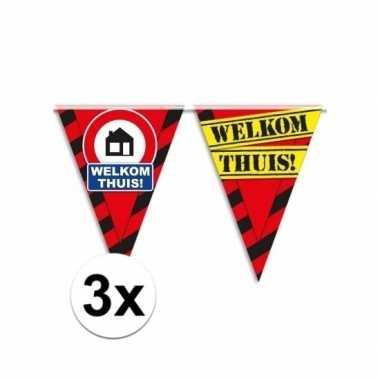 3x versiering welkom thuis vlaggenlijn slingers 10 meter