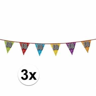 3x vlaggenlijn 10 jaar feestje