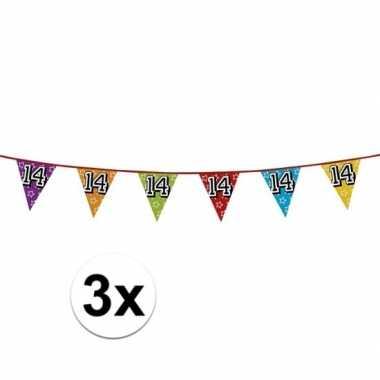 3x vlaggenlijn 14 jaar feestje