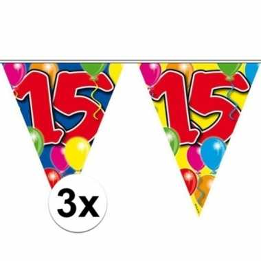 3x vlaggenlijn 15 jaar 10 meter