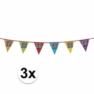 3x vlaggenlijn 15 jaar feestje