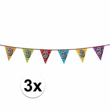 3x vlaggenlijn 3 jaar feestje