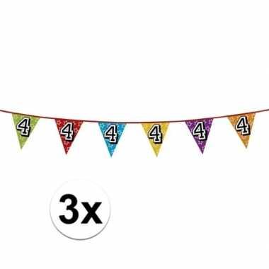 3x vlaggenlijn 4 jaar feestje