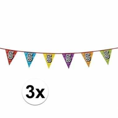 3x vlaggenlijn 5 jaar feestje