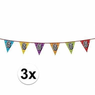 3x vlaggenlijn 6 jaar feestje