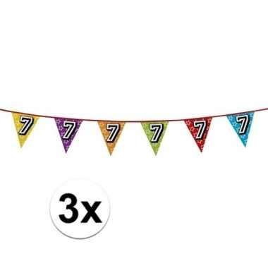 3x vlaggenlijn 7 jaar feestje