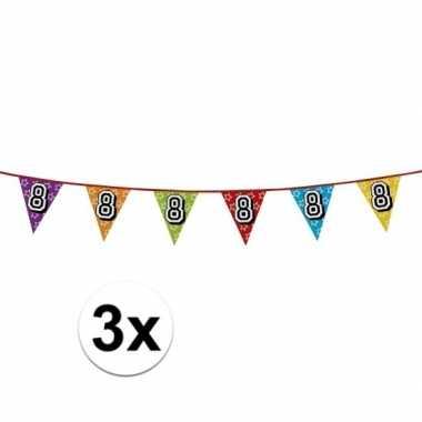 3x vlaggenlijn 8 jaar feestje
