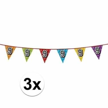 3x vlaggenlijn 9 jaar feestje