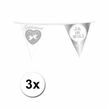 3x Vlaggenlijn bruiloft Ja ik wil