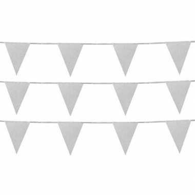 3x zilveren vlaggenlijnen met glitters 6 meter
