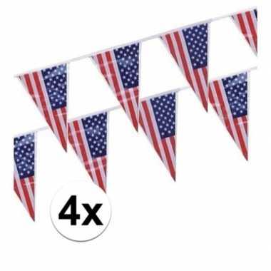 4x amerikaanse usa punt vlaggetjes lijnen