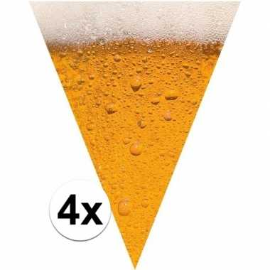 4x bierfeest versiering vlaggenlijn 6,4 meter pils print