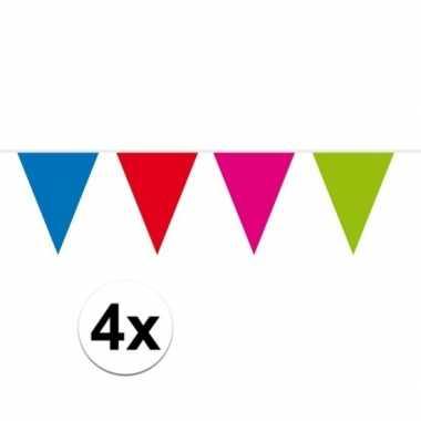 4x gekleurde vlaggenlijn groot 10 meter