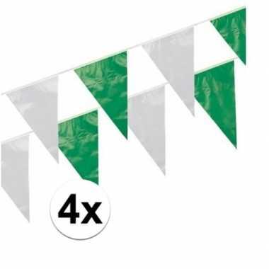 4x groen / wit vlaggenlijnen 10 meter