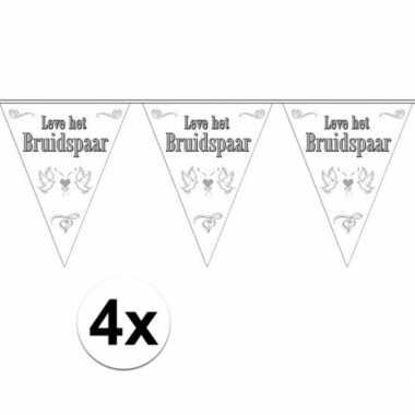 4x leve het bruidspaar bruiloft versiering vlaggenlijn