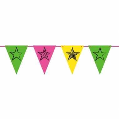 4x neon kleurige feest slingers van 6 meter