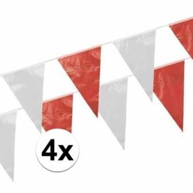 4x rood witte vlaggetjes 10 meter