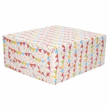 4x stuks rollen verjaardagscadeau inpakpapier vlaggenlijn happy birthday 70 x 200 cm