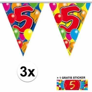 5 jaar vlaggenlijnen 3x met gratis sticker