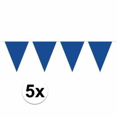 5 stuks blauwe vlaggenlijnen groot 10 meter