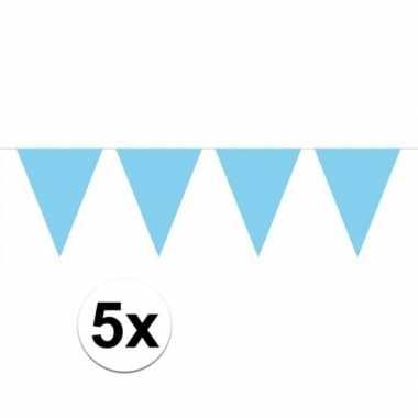 5 stuks lichtblauwe vlaggenlijnen groot 10 meter