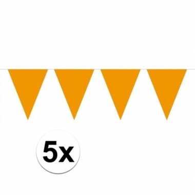5 stuks oranje vlaggenlijnen groot 10 meter