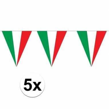 5 stuks puntvlaggetjes italie 5 meter