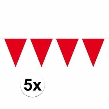 5 stuks rode vlaggenlijnen groot 10 meter