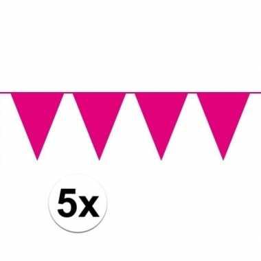 5 stuks roze vlaggenlijnen groot 10 meter