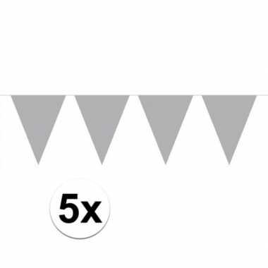 5 stuks zilveren vlaggenlijnen groot 10 meter
