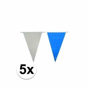 50 meter lichtblauw met witte vlaggenlijnen