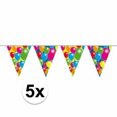 5x ballon vlaggenlijn slingers 10 meter
