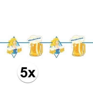5x beierse/bayern print slinger met bier 10 meter feestversiering