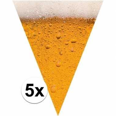 5x bierfeest versiering vlaggenlijn 6,4 meter pils print
