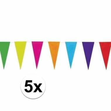 5x gekleurde papieren vlaggenlijn 10 mtr