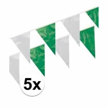 5x groen / wit vlaggenlijnen 10 meter