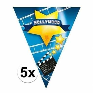 5x hollywood thema vlaggenlijnen hollywood