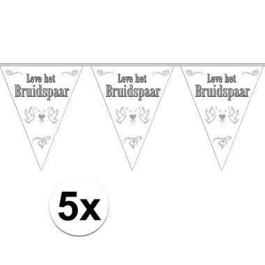 5x leve het bruidspaar bruiloft versiering vlaggenlijn