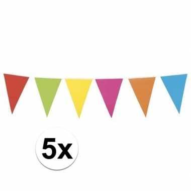 5x mega vlaggenlijn gekleurd xl 10 meter